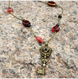 Handmade Red Beads Gothic Key Necklace