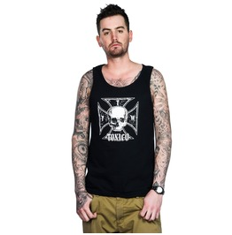 Toxico Clothing Mens Iron Cross Skull Beater Vest