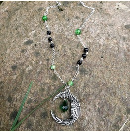 Handmade Green Black Gothic Moon Necklace