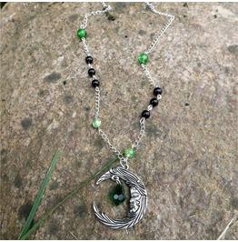 Handmade Green Black Gothic Moon Necklace