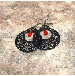 Handmade Gothic Black Red Openwork Earrings