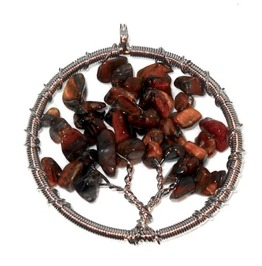 Enchanting Tigers Eye Gemstone Bead Wirewrap Tree Life Pendant