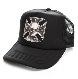 Toxico Clothing Unisex Black Iron Cross Skull Trucker Hat