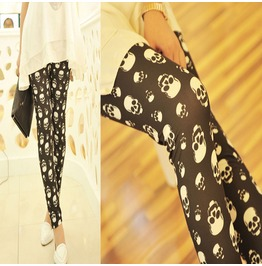 Women Skull Print Retro Leggings Elasticity Thin Tight Pencil Skinny Pants