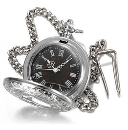 Silver Stainless Steel Victorian Gothic Pop Open Quartz Pocket Watch