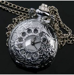 Silver Floral Victorian Gothic Pop Open Quartz Pocket Watch