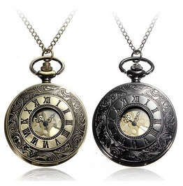 Black/Bronze Victorian Gothic/Steampunk Pop Open Pocket Watch