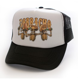 Toxico Clothing Unisex Black Borracho Skelebros Trucker Hat
