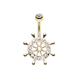 Golden Sparkle Anchor Wheel Belly Button Ring Bar