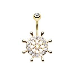 Golden Sparkle Anchor Wheel Belly Button Ring Bar