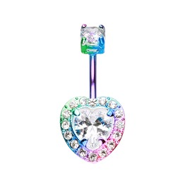 Colorline Brilliant Heart Sparkle Belly Button Ring Bar