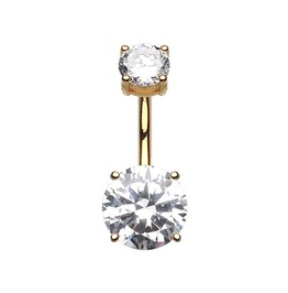 Colorline Gem Prong Sparkle Belly Button Ring Gold Plated Clear Gems