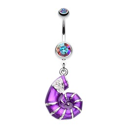 Vibrant Nautilus Purple Seashell Belly Button Ring Ab Gem Bar