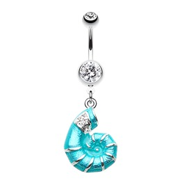 Vibrant Nautilus Teal Seashell Belly Button Ring Clear Gem Bar