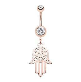 Rose Gold Filigree Hamsa Belly Button Ring Clear Gem Bar