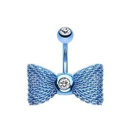 Dark Blue Mesh Bow 14g Belly Bar Navel Ring