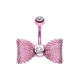 Pink Mesh Bow 14g Belly Bar Navel Ring
