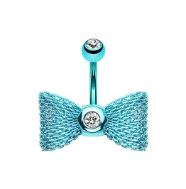 Aqua Mesh Bow 14g Belly Bar Navel Ring