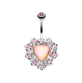 Sparkle Heart Flower Belly Button Ring Bar