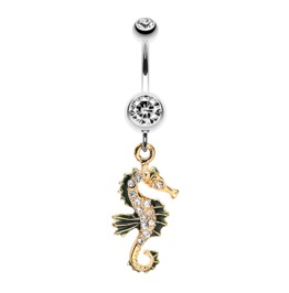 Sparkling Gold Plated Seahorse Dangle Belly Button Ring Surgical Steel Bar