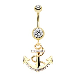 Golden Anchor Dock Belly Button Ring Bar