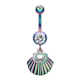 Colorline Gold Ariel's Shell Dangle Belly Button Bar