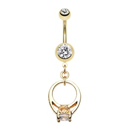 Golden Promise Belly Button Ring Clear Gems
