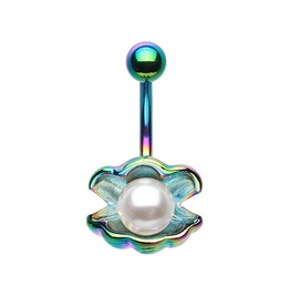 Colorline Ariel's Shell Pearl Belly Button Bar