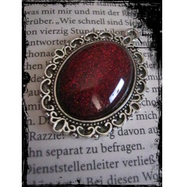 Antique Silver Necklace Red Stone
