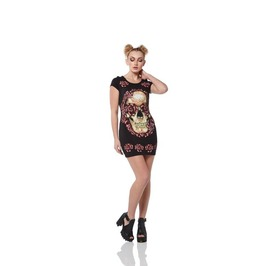 Jawbreaker Muertos Skull Roses Tunic Dress