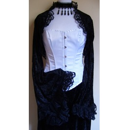 Gothic Crushed Velvet Lace Edged Flared Shrug