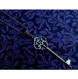 Gothic Steampunk Silver Plated Large Key Necklace