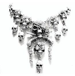 Haunting Pirate Skull Silver Metal Necklace