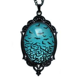 Flying Bats Necklace Teal