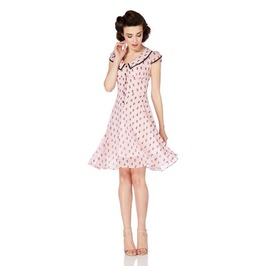 Voodoo Vixen Sugar Kitty Pink Flounce Flare Tea Dress