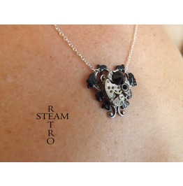 Black Heart Steampunk Necklace Steampunk Jewelry Heart Necklace