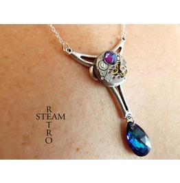 Church Mechanology Steampunk Necklace Steampunk Jewellery Bermuda Blue