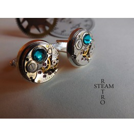 Steampunk Blue Zircon Cufflinks Steamretro Men Jewelry Steampunk