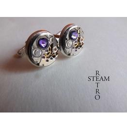 Steampunk Violet Cufflinks Steamretro Men Jewelry Steampunk