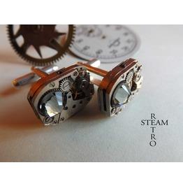 Mens Steampunk Steampunk Swarovski Grey Cufflinks Vinta