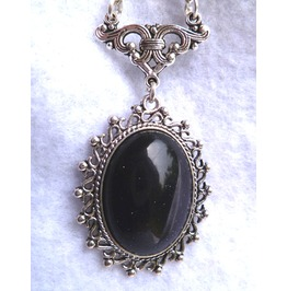 Nyx, Blue Sand Stone Medallion Necklace Goth Elven Victorian Wedding