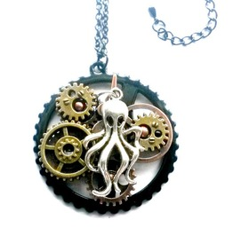 Steampunk Octopus Necklace Black Handmade Gift Aunt Matildas Jewelry Box