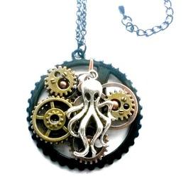 Steampunk Octopus Necklace Black Handmade Gift Aunt Matildas Jewelry Box