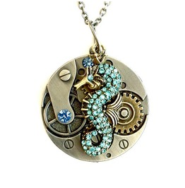 Seahorse Necklace Steampunk Clockwork Handmade By Aunt Matilda's Jewelry