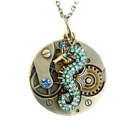 Seahorse Necklace Steampunk Clockwork Handmade By Aunt Matilda's Jewelry