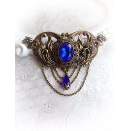 Imperial Glory Sapphire Crystal Clip Fantasy Medieval Gothic Jewelry Accessories