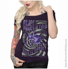 Alice Takes Trip Women's Shoulder Tee (Glows Dark!)