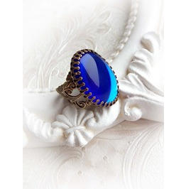 Sapphire Aged Brass Oval Ring Gothic Baroque Victorian Jewelry
