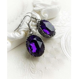 Gothic Medieval Earrings Victorian Swarovski Purple Crystal Oval Earrings