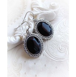 Black Gothic Earrings Victorian Earrings Filigree Handmade Earrings